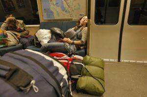 girl sleeping on BART
